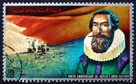 astrologer: AJMAN - CIRCA 1972: a stamp printed in the Ajman shows Johannes Kepler, German Mathematician, Astronomer and Astrologer, 400th Anniversary of Kepler�s Birth, circa 1972 Editorial