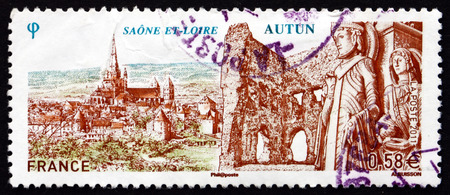 janus: FRANCE - CIRCA 2011: a stamp printed in the France shows Autun, Commune in the Saone-et-Loire Department in Burgundy, circa 2011 Editorial