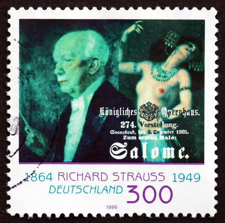 richard: GERMANY - CIRCA 1999: a stamp printed in the Germany shows Richard Strauss, German Composer and Conductor, circa 1999