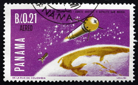 PANAMA - CIRCA 1966: a stamp printed in the Panama shows San Marco 1 Boosted into Orbit, the First Italian Satellite, circa 1966