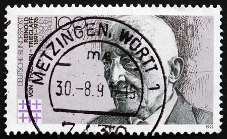 founder: GERMANY - CIRCA 1991: a stamp printed in the Germany shows Reinold von Thadden-Trieglaff, Lawyer and Politician, Founder of German Protestant Convention, circa 1991 Editorial