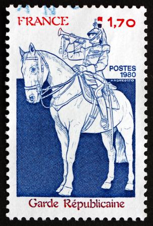 cavalryman: FRANCE - CIRCA 1980: a stamp printed in the France shows Guardsman, circa 1980