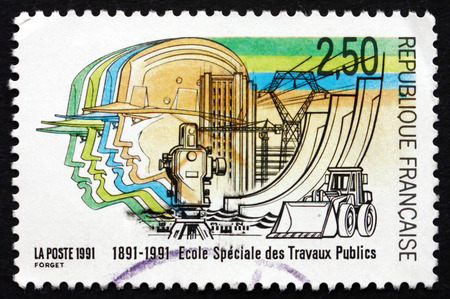 public works: FRANCE - CIRCA 1991: a stamp printed in the France shows School of Public Works, Centenary, circa 1991