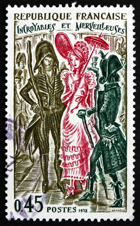 FRANCE - CIRCA 1972: a stamp printed in the France shows Incroyables and Merveilleuses, 1794, Members of a Fashionable Aristocratic Subculture in Paris during the French Directory, circa 1972