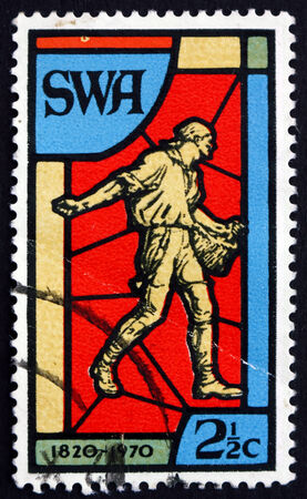SOUTH WEST AFRICA - CIRCA 1970: a stamp printed in South West Africa shows Sower, Stained Glass Window, 150th Anniversary of the South African Bible Society, circa 1970