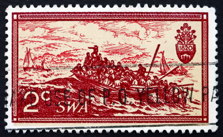 SOUTH WEST AFRICA - CIRCA 1971: a stamp printed in Landing of British Setlers, 1820, Painting by Thomas Baines, circa 1971