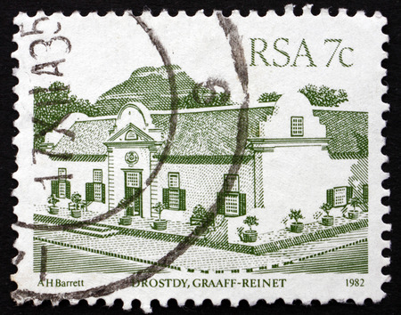magistrates: SOUTH AFRICA - CIRCA 1982: a stamp printed in South Africa shows Drostdy, once Local Magistrates Court, and today One of the Top Heritage Hotel, Graaff-Reinet, circa 1982
