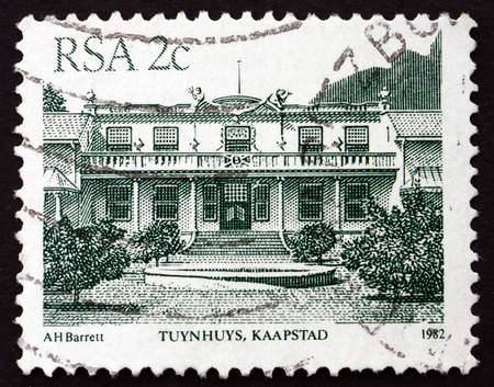 presidency: SOUTH AFRICA - CIRCA 1982: a stamp printed in South Africa shows Tuynhuys, Kaapstad (Cape Town), is the Office of the Presidency of the South Africa, circa 1982 Editorial
