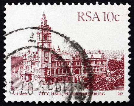 redbrick: SOUTH AFRICA - CIRCA 1983: a stamp printed in South Africa shows City Hall, Pietermaritzburg, is the Largest red-brick Building in the Southern Hemisphere, circa 1983