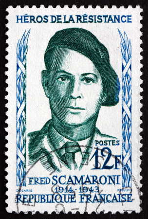 FRANCE - CIRCA 1958: a stamp printed in the France shows Fred Scamaroni, Hero of the French Underground in World War II, circa 1958