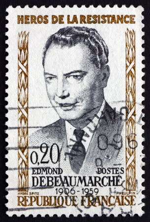 FRANCE - CIRCA 1960: a stamp printed in the France shows Edmund Debeaumarche, Hero of the French Underground in World War II, circa 1960
