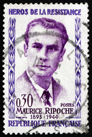 FRANCE - CIRCA 1960: a stamp printed in the France shows Maurice Ripoche, Hero of the French Underground in World War II, circa 1960
