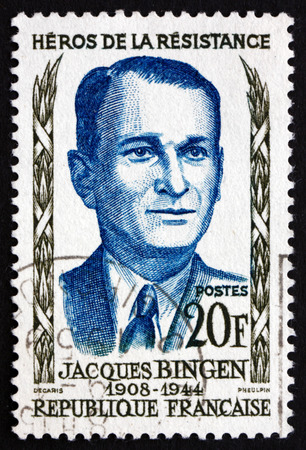 FRANCE - CIRCA 1958: a stamp printed in the France shows Jacques Bingen, Hero of the French Underground in World War II, circa 1958