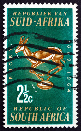 SOUTH AFRICA - CIRCA 1964: a stamp printed in South Africa shows Rugby Board Emblem, Springbok and Ball, South African Rugby Board, 75th Anniversary, circa 1964