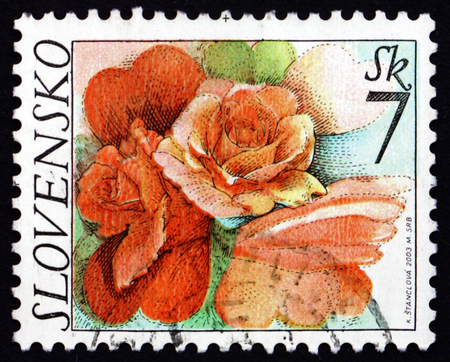 SLOVAKIA - CIRCA 2003: a stamp printed in the Slovakia shows Rose Flowers, circa 2003