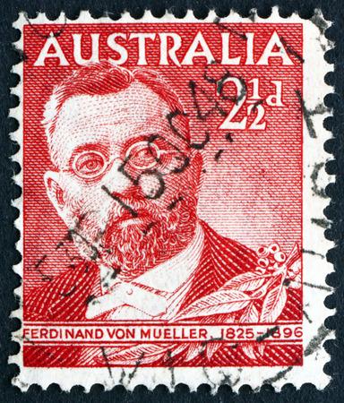 botanist: AUSTRALIA - CIRCA 1948: a stamp printed in the Australia shows Ferdinand von Mueller, German-born Botanist, circa 1948