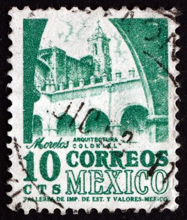 morelos: MEXICO - CIRCA 1950: a stamp printed in the Mexico shows Convent, Morelos, circa 1950 Editorial