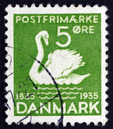 ugly duckling: DENMARK - CIRCA 1935: a stamp printed in the Denmark shows The Ugly Duckling, Centenary of the Earliest Installment of Hans Christian Andersen's Fairy Tales, circa 1935