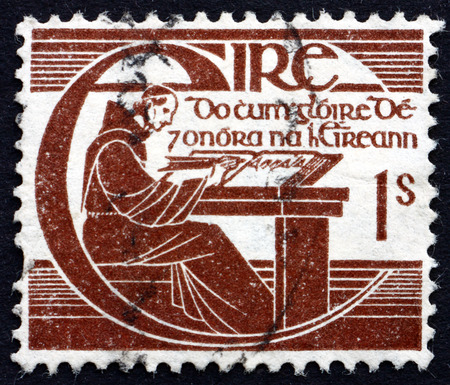 scribe: IRELAND - CIRCA 1944: a stamp printed in the Ireland shows Brother Michael OClery, Irish Historian, 300th Anniversary of the Death, circa 1944 Editorial