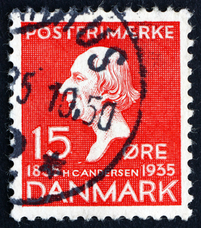 hans: DENMARK - CIRCA 1935: a stamp printed in the Denmark shows Hans Christian Andersen, Writer, Centenary of the Earliest Installment of Hans Christian Andersen's Fairy Tales, circa 1935