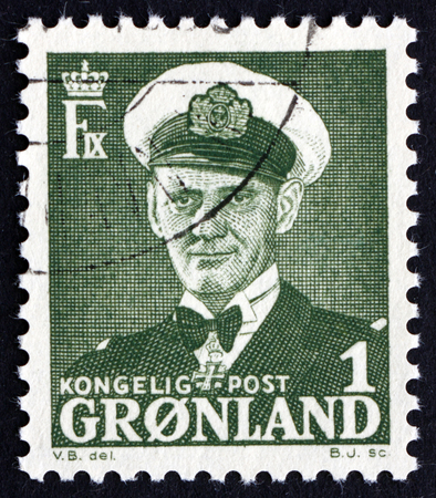 greenlandic: GREENLAND - CIRCA 1950: a stamp printed in the Greenland shows Frederik IX, King of Denmark, circa 1950