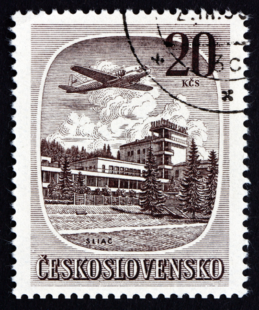 CZECHOSLOVAKIA - CIRCA 1951: a stamp printed in the Czechoslovakia shows the Plane over Silac, Slovakia, circa 1951