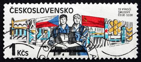 czechoslovakia: CZECHOSLOVAKIA - CIRCA 1985: a stamp printed in the Czechoslovakia shows Workers, Czech-Soviet Treaty, 1970, circa 1956 Editorial
