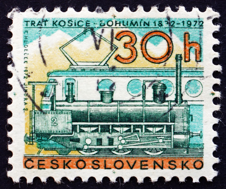diesel locomotives: CZECHOSLOVAKIA - CIRCA 1972: a stamp printed in the Czechoslovakia shows Steam and Diesel Locomotives, Centenary of the Kosice-Bohumin Railroad, circa 1972 Editorial