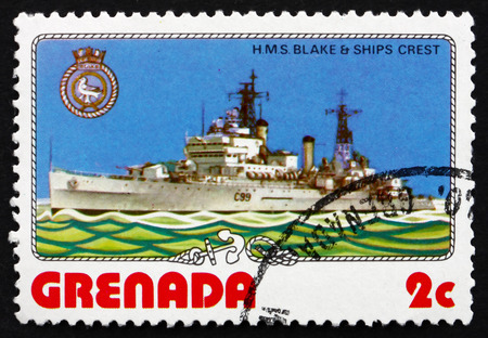 GRENADA - CIRCA 1976: a stamp printed in Grenada shows H.M.S. Blake and Ship�s Crest, Light Cruiser of the Tiger Class, circa 1976