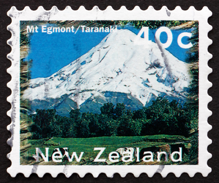 egmont: NEW ZEALAND - CIRCA 1996: a stamp printed in the New Zealand shows Mt. Egmont, Taranaki, Scenic View, circa 1996 Editorial