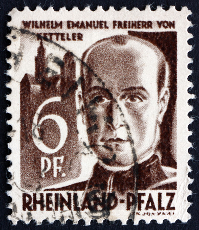 theologian: GERMANY - CIRCA 1947: a stamp printed in the Rhine Palatinate, Germany shows Wilhelm Emmanuel von Ketteler, Theologian and Politician, Bishop of Mainz, circa 1947