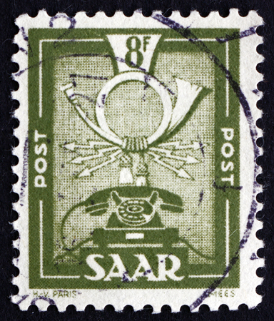 saar: GERMANY - CIRCA 1951: a stamp printed in the Saar, Germany shows Communications Symbols, circa 1951