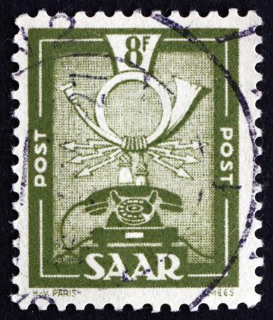 saar: GERMANY - CIRCA 1951: a stamp printed in the Saar, Germany shows Communications Symbols, circa 1951