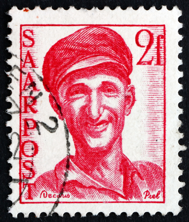 saar: GERMANY - CIRCA 1948: a stamp printed in the Saar, Germany shows Worker, circa 1948
