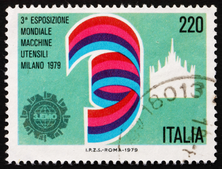 ITALY - CIRCA 1979: a stamp printed in the Italy shows Dome of Milan, Exhibition Emblem, 3rd World Machine Tool Exhibition, Milan, circa 1979
