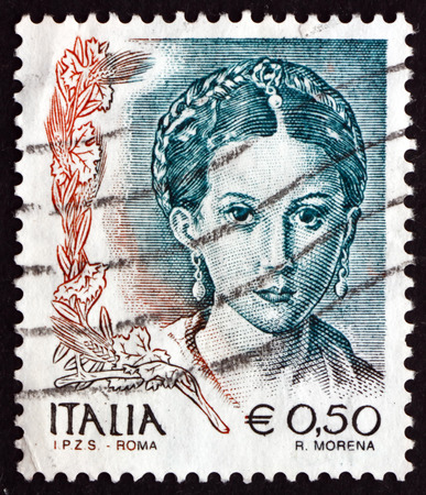 printmaker: ITALY - CIRCA 2002: a stamp printed in the Italy shows Antea, Detail of Painting by Parmigianino, Painter and Printmaker, circa 2002 Editorial