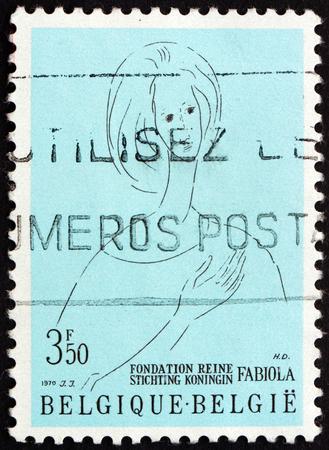 foundation problems: BELGIUM - CIRCA 1970: a stamp printed in the Belgium shows Queen Fabiola, Queen Fabiola Foundation for Mental Health, circa 1970
