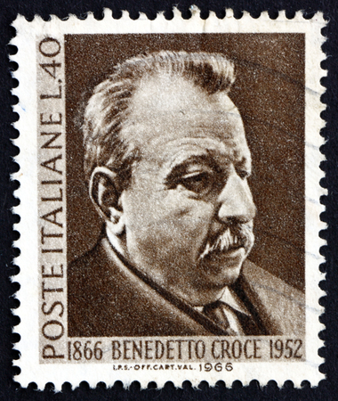statesman: ITALY - CIRCA 1966: a stamp printed in the Italy shows Benedetto Croce, Philosopher, Statesman and Historian, circa 1966 Editorial