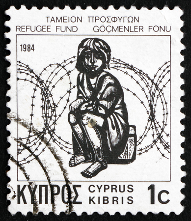 CYPRUS - CIRCA 1984: a stamp printed in the Cyprus shows Child and Barbed Wire, circa 1984