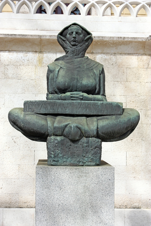 faculty: History of the Croats (Povijest Hrvata), sculpture by Ivan Mestrovic, located in front of the building of Zagreb Law Faculty