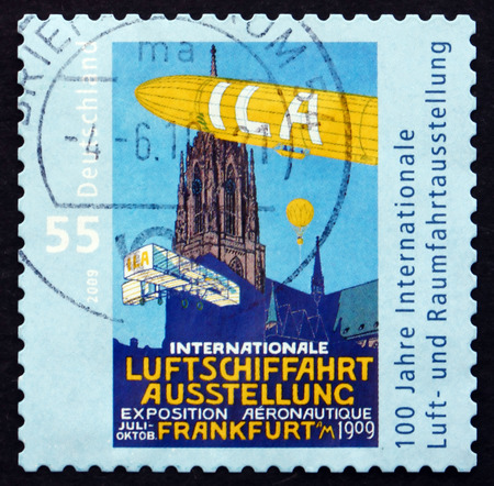 GERMANY - CIRCA 2009: a stamp printed in the Germany shows Centenary of the International Aerospace Exhibition, Frankfurt am Main, circa 2009
