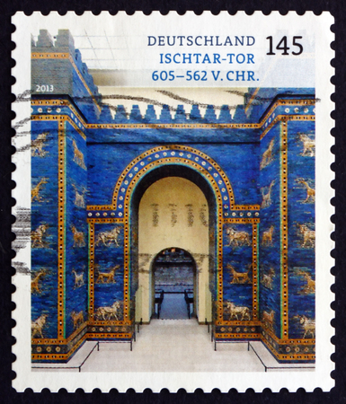 GERMANY - CIRCA 2013: a stamp printed in the Germany shows Ishtar Gate, was the Eighth Gate to the Inner City of Babylon, Treasures of German Museums, circa 2013