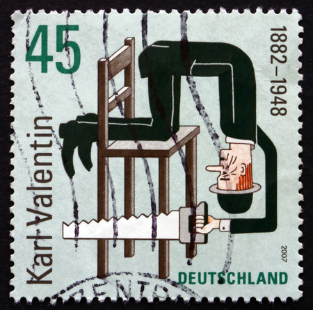 karl: GERMANY - CIRCA 2007: a stamp printed in the Germany shows Karl Valentin, Writer, Comedian and Film Producer, circa 2007