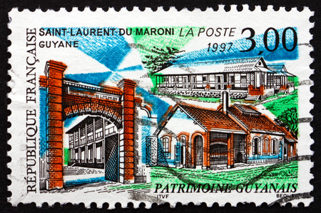 FRANCE - CIRCA 1997: a stamp printed in the France shows View of Saint-Laurent-du-Maroni, Commune of French Guiana, Overseas Region Located in South America, circa 1997