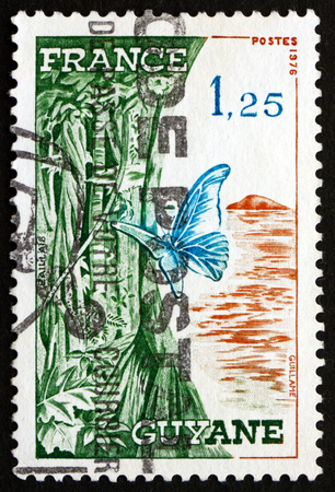 FRANCE - CIRCA 1976: a stamp printed in the France shows French Guiana, Overseas Region Located in South America, circa 1976