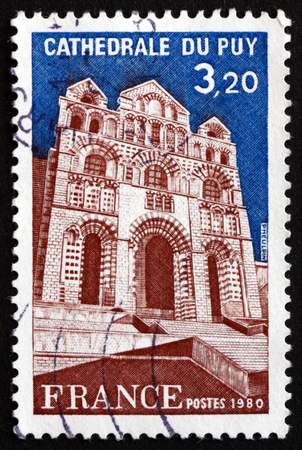 commemorate: FRANCE - CIRCA 1980: a stamp printed in the France shows Puy Cathedral, in Le Puy-en-Velay, Auvergne, National Monument of France, circa 1980