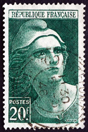 FRANCE - CIRCA 1945: a stamp printed in the France shows Marianne, National Emblem of the French Republic, circa 1945