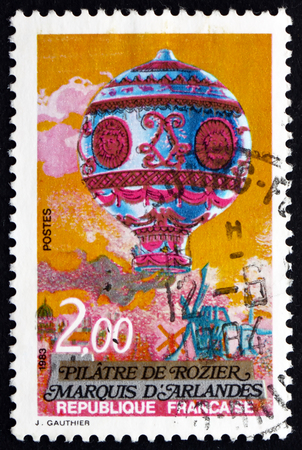 manned: FRANCE - CIRCA 1983: a stamp printed in the France shows Hot Air Ballon, Manned Flight Bicentenary, circa 1983