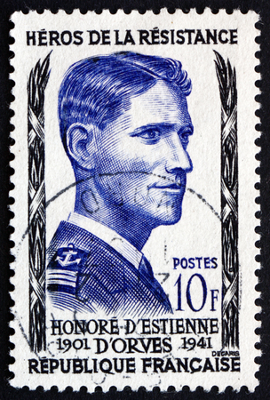 FRANCE - CIRCA 1957: a stamp printed in the France shows Honore d�Estienne d�Orves, Hero of the French Underground in World War II, circa 1957