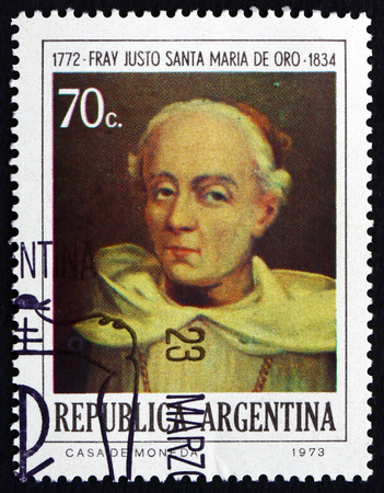 theologian: ARGENTINA - CIRCA 1974: a stamp printed in the Argentina shows Brother Justo Santa Maria de Oro, Theologian, Patriot and First Argentine Bishop, circa 1974 Editorial
